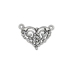 connector, pewter (tin-based alloy), 17x14mm fancy heart. sold per pkg of 4.