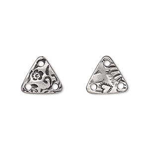 connector, tierracast, antiqued pewter (tin-based alloy), 12mm two-sided triangle with flora design and 3 holes. sold per pkg of 2.