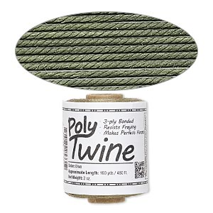 cord, 3-ply bonded polyester twine, olive, 1mm diameter. sold per 2-ounce spool.