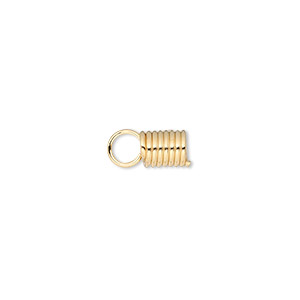 cord coil, glue-in, gold-finished steel, 11x5.5mm with 3.5mm inside diameter. sold per pkg of 40.