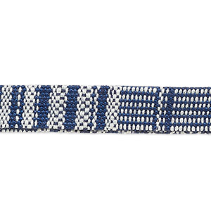 cord, cotton and polyurethane, dark blue / blue / white, 10mm flat with line design. sold per pkg of 1 meter.
