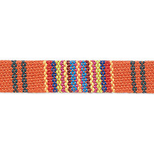 cord, cotton and polyurethane, orange and multicolored, 10mm flat with line design. sold per pkg of 1 meter.