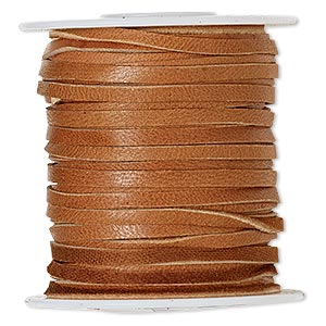 cord, deerskin leather (dyed), saddle tan, 2.5-3mm. sold per 50-foot spool.