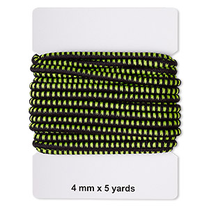 cord, elastic rubber and nylon, black and green, 4mm diameter with dots. sold per pkg of 5 yards.