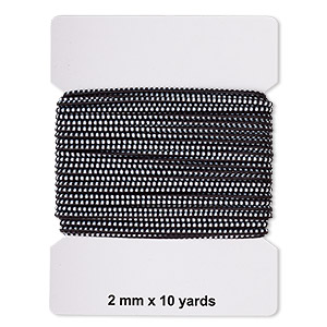 cord, elastic rubber and nylon, black and white, 2mm diameter with dots. sold per pkg of 10 yards.