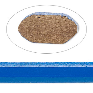 cord, ellada leather™, greek leather (dyed), blue, 10x5mm oval. sold per pkg of 1 yard.