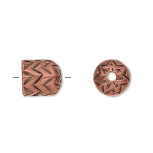 cord end, antique copper-plated pewter (tin-based alloy), 11x10mm round tube with zigzag design, 7.5mm inside diameter. sold individually.
