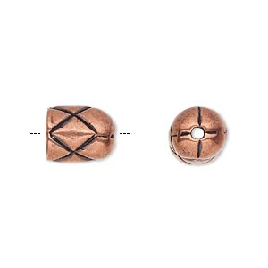 cord end, antique copper-plated pewter (tin-based alloy), 11x9mm round tube with diamond design, 7mm inside diameter. sold individually.
