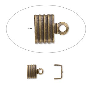 cord end, fold-over, antique gold-plated brass, 6.5x4.5mm corrugated u-shape, 6mm inside diameter. sold per pkg of 500.