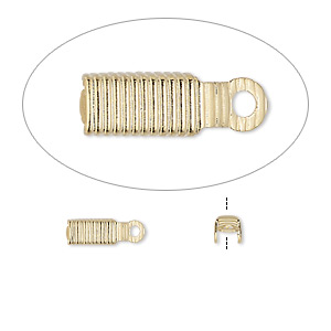 cord end, fold-over, gold-plated brass, 8x3.5mm with 3mm inside diameter. sold per pkg of 100.