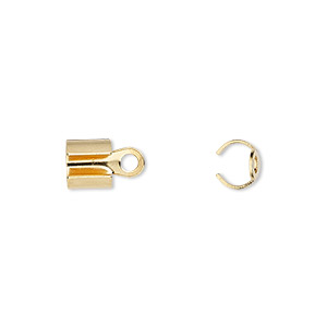 cord end, fold-over, gold-plated steel, 7x6mm, 5.5mm inside diameter. sold per pkg of 20.