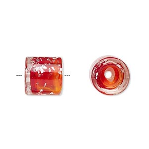 cord end, glass, transparent red with silver-colored foil, 11x11mm with confetti pattern, 5mm inside diameter. sold per pkg of 2.