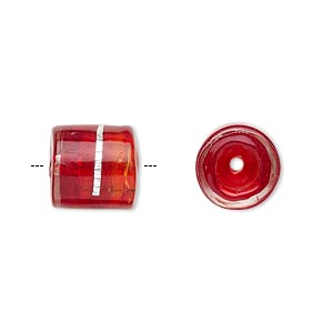 cord end, glass, transparent red with silver-colored foil, 11x11mm with wavy line pattern, 5mm inside diameter. sold per pkg of 2.