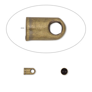 cord end, glue-in, antique gold-plated brass, 5.5x3.5mm with 2.5mm inside diameter. sold per pkg of 100.