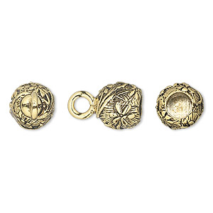 cord end, glue-in, antique gold-plated pewter (tin-based alloy), 9.5x9mm half-round with flower design, 5mm inside diameter. sold per pkg of 2.