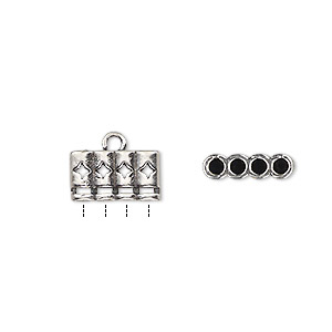 cord end, glue-in, antique silver-plated brass, 12x7mm 4-strand double-sided with diamond cutout design, 2mm inside diameter. sold per pkg of 2.