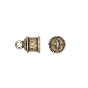 cord end, glue-in, jbb findings, antique brass, 8x8mm textured round tube, 6mm inside diameter. sold per pkg of 2.