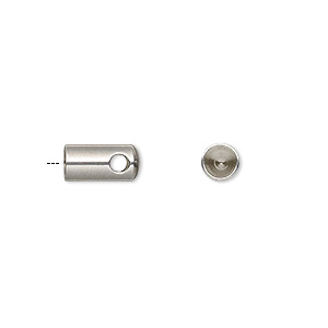 cord end, glue-in, stainless steel, 10x5mm with 4mm inside diameter. sold per pkg of 10.