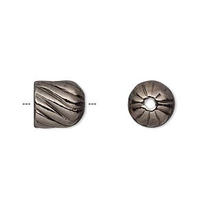 cord end, gunmetal-plated pewter (tin-based alloy), 10.5x10mm corrugated twisted round tube, 7.5mm inside diameter. sold individually.