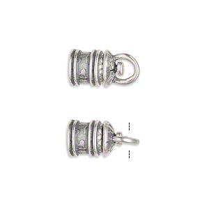 cord end, jbb findings, antique silver-plated brass, 11.5x8mm tube with swivel and flower and leaves design, 5mm inside diameter. sold per pkg of 2.