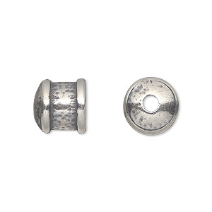 cord end, jbb findings, antique silver-plated pewter (tin-based alloy), 11x11mm textured round tube, 9mm inside diameter. sold per pkg of 2.