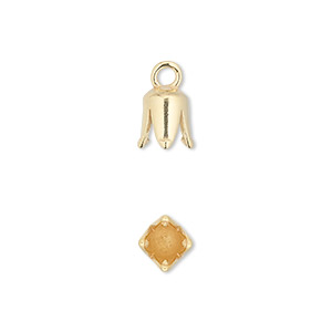 cord end, jbb findings, gold-plated pewter (tin-based alloy), 8.5x6mm cone with 4mm inside diameter. sold per pkg of 2.