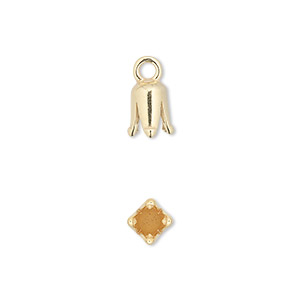 cord end, jbb findings, gold-plated pewter (tin-based alloy), 8x5mm cone with 3mm inside diameter. sold per pkg of 2.
