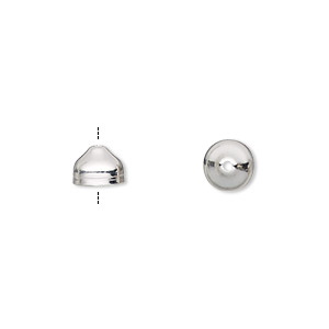 cord end, silver-plated brass, 7x5mm with 6mm inside diameter. sold per pkg of 100.