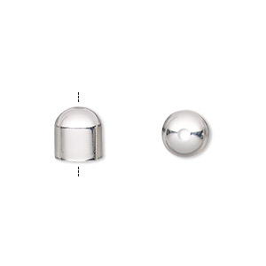 cord end, silver-plated brass, 8x8mm with 7mm inside diameter. sold per pkg of 100.