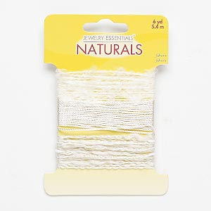 cord, fabric, white, 0.5mm twisted / 0.75mm twisted / 3mm frayed. sold per pkg of (3) 2-yard sections.