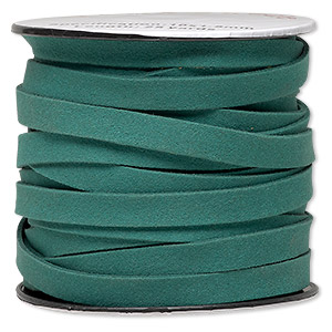 cord, faux suede, green, 10mm flat. sold per pkg of 3 yards.