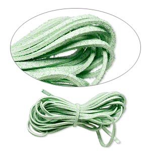 cord, faux suede lace, lime green, 3mm. sold per pkg of 5 yards.