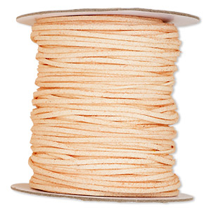 cord, faux suede lace, peach, 3mm. sold per 100-yard spool.