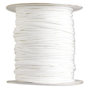 cord, faux suede lace, white, 3mm. sold per 100-yard spool.