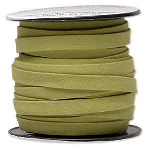 cord, faux suede, lime green, 10mm flat. sold per 25-yard spool.