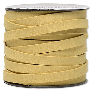 cord, faux suede, tan, 10mm flat. sold per pkg of 3 yards.