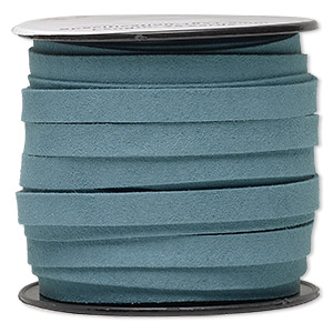 cord, faux suede, turquoise blue, 10mm flat. sold per pkg of 3 yards.