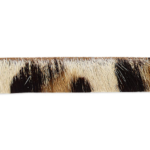 cord, hair-on leather, brown / dark brown / natural, 10mm single-sided flat with cheetah pattern. sold per pkg of 1 yard.