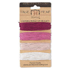 cord, hemptique, hemp, ruby shades, 1mm diameter, 20-pound test. sold per pkg of (4) 30-foot sections.