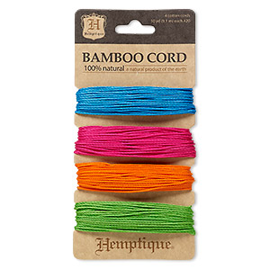 cord, hemptique, polished bamboo, assorted neon, 1mm diameter, 20-pound test. sold per pkg of (4) 30-foot sections.