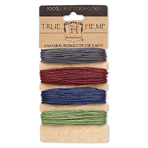 cord, hemptique, polished hemp, assorted colors, 1mm diameter, 20-pound test. sold per 120-foot set.