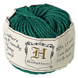 cord, hemptique, polished hemp, green, 1mm diameter, 20-pound test. sold per 82-foot ball.
