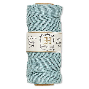 cord, hemptique, polished hemp, light blue, 1mm diameter, 20-pound test. sold per 205-foot spool.
