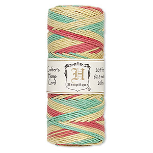 cord, hemptique, polished hemp, multicolored, 1mm diameter, 20-pound test. sold per 205-foot spool.