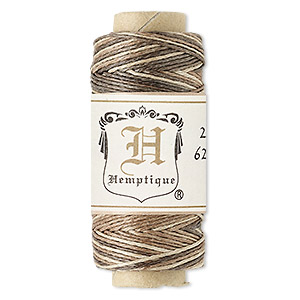 cord, hemptique, polished hemp, natural blend, 0.5mm diameter, 10-pound test. sold per 100-foot spool.