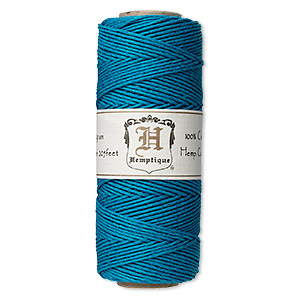 cord, hemptique, polished hemp, turquoise blue, 1mm diameter, 20-pound test. sold per 205-foot spool.