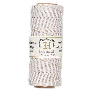 cord, hemptique, polished hemp, white, 1mm diameter, 20-pound test. sold per 205-foot spool.