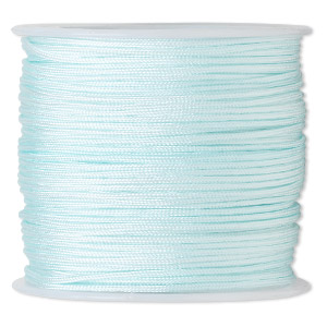 cord, imitation silk, light blue, 1mm. sold per 100-foot spool.