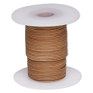 cord, leather, brown, 0.5-0.8mm round. sold per 25-yard spool.
