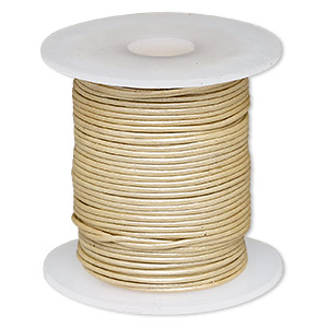 cord, leather (coated), metallic beige, 0.5-0.8mm. sold per 25-yard spool.